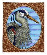 Great Blue Heron Portrait - Brown Border Fleece Blanket by Amy E Fraser