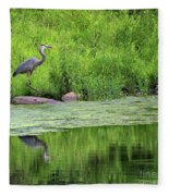 Great Blue Heron Square Fleece Blanket