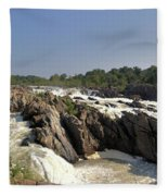 Great Falls On The Potomac Panorama  Fleece Blanket