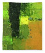 Green Envy Abstract Painting Fleece Blanket