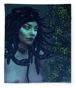 Green Eyed Medusa Fleece Blanket