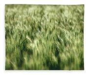 Green Growing Wheat Fleece Blanket