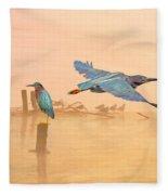 Green Heron Sunrise Fleece Blanket