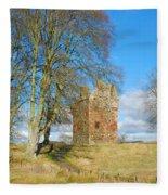 Greenknowe Tower In Late Winter Sun Scottish Borders Fleece Blanket
