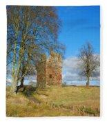 Greenknowe Tower In Winter Sun, Scottish Borders Fleece Blanket