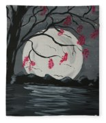 Grey Moon With Red Flowers Fleece Blanket
