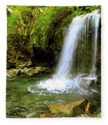 Grotto Falls On Trillium Gap Trail In Smoky Mountains National Park Fleece Blanket