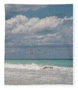 Group Of Pelicans Above The Ocean Fleece Blanket