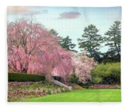 Weeping Cherry And Tulips Fleece Blanket