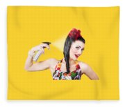 Haircare. Brunette Pinup Woman Using Hair Product Fleece Blanket