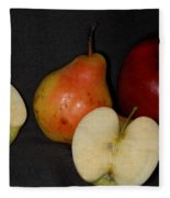 Half An Apple On Black Fleece Blanket