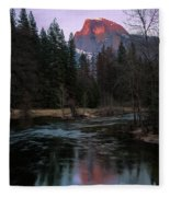 Half Dome Reflection Over Merced River At Sunset, Yosemite National Park  Fleece Blanket