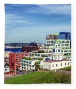 Halifax Town Clock And Halifax Skyline Fleece Blanket