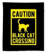 Halloween Shirt Caution Black Cat Crossing Gift Tee Fleece Blanket