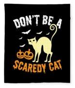 Halloween Shirt Dont Be A Scaredy Cat Pumpkin Tee Gift Fleece Blanket