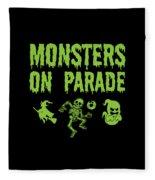 Halloween Shirt Monsters On Parade Green Gift Tee Fleece Blanket