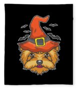 Halloween Shirt Witch Yorkshire Dog Costume Gift  Fleece Blanket