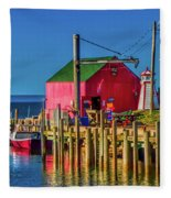 Halls Harbour Nova Scotia Fleece Blanket