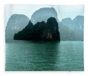 Halong Bay Mountains, Vietnam Fleece Blanket