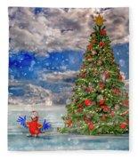 Happy Christmas Parrot Fleece Blanket