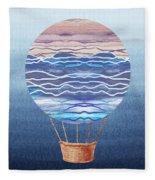 Happy Hot Air Balloon Watercolor Xxvi Fleece Blanket