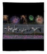 Happy New Year 2019 - Four Pelicans Fleece Blanket