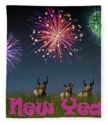 Happy New Year 2019 - Three Pronghorn Antelope Fleece Blanket