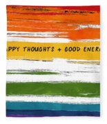Happy Thoughts Rainbow- Art By Linda Woods Fleece Blanket