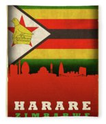 Harare Zimbabwe World City Flag Skyline Fleece Blanket