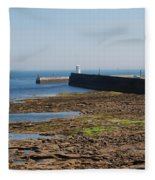 harbour at Seahouses on hazy summer day Fleece Blanket