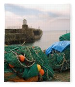 harbour pier and fishings nets at Pittenweem, Fife Fleece Blanket