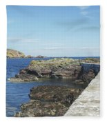 harbour wall and cliffs at St. Abbs, Berwickshire Fleece Blanket