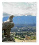Hawk Overseeing Village. Fleece Blanket