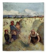 Haymaking, 1895 Fleece Blanket