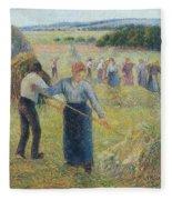 Haymaking At Eragny, 1891 Fleece Blanket