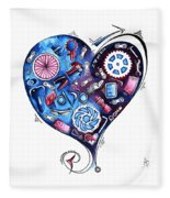 Heart Racing A Mad Shredder Biking Cycling Painting By Megan Duncanson Fleece Blanket