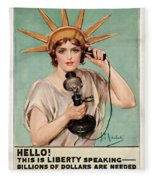 Hello This Is Liberty Speaking 1918 Fleece Blanket