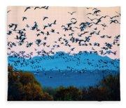 Herd Of Snow Geese In Flight, Soccoro Fleece Blanket