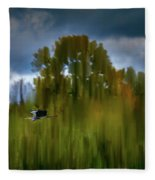 Heron Flying Abstract #h9 Fleece Blanket