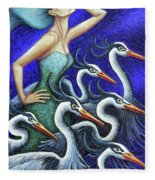 Heron's Run Fleece Blanket by Amy E Fraser