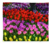 Hidden Garden Of Beautiful Tulips Fleece Blanket