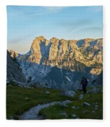 Hiker In The Morning Fleece Blanket