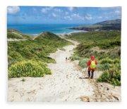 Hiking To Sandfly Bay New Zealand Fleece Blanket