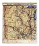 Historical Map Hand Painted Arkansaws Territory Fleece Blanket