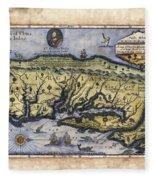 Historical Map Hand Painted Drake Virginia Fleece Blanket