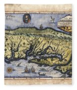Historical Map Hand Painted Italy Vintage Fleece Blanket