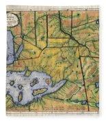 Historical Map Hand Painted Lake Superior Norhern Minnesota Boundary Waters Captain Carver Fleece Blanket