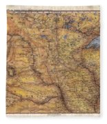 Historical Map Hand Painted Lake Superior North Dakota Minnesota Fleece Blanket