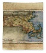 Historical Map Hand Painted Massachussets Fleece Blanket