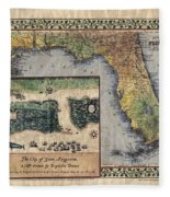 Historical Map Hand Painted St. Augustine Fleece Blanket